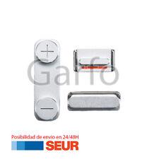 Conjunto de Teclas Botones, Encendido, Volumen, Silencio Plata para Iphone 4