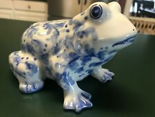 New ListingVintage Andrea by Sadek Blue and White Ceramic Frog Coin Bank
