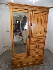 1930's,painted,pine,double,wardrobe,drawers,mirrored door,hang,vintage,compactum
