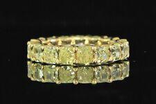$30,000 18K Gold 5.45ct Cushion Cut Fancy Yellow Diamond Wedding Band Ring 6