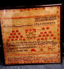 "Antique 184O'S Rose Tarpys Sampler Caher School Born Aug 15 1833 16"" X 16"""