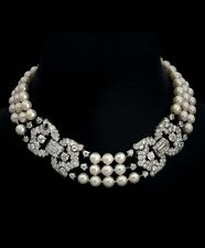 925 Sterling Silver Pearl Necklace White Round Baguette CZ High Handmade Choker