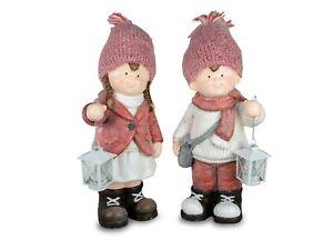 Winterkinder Mädchen oder Junge Teelichthalter-Laterne H.45cm Winterzeit Formano
