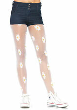 Sexy White Sheer Woven Daisy Tights Leg Avenue LA-7928 fancy dress flowers