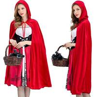 Women Halloween Little Red Riding Hood Cape Party Cloak Fancy Dress Costume