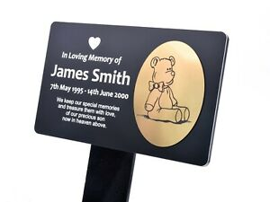 LARGE Personalised Memorial Plaque Stake - Teddy Bear (Gold / Silver / Copper)