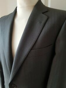 """Mens Vintage Magee Suit Chest 40"""" Waist 36""""Short Pure Wool Striped Formal Grey"""