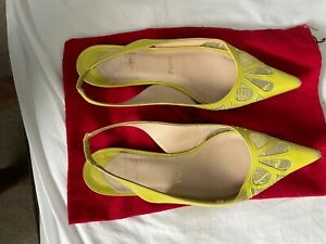 Christian Louboutin yellow sling back flats Size 7.5 pre-owned Comfortable!