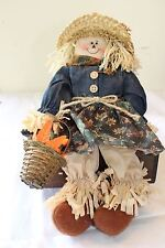 Primitive Country Fall Scarecrow Lady Basket, Straw hat fully clothed Decorative