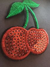 """Red Cherries Sequin Iron On Embroidered Applique Patch (2.75x3.25"""")*USA SELLER*"""