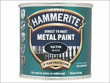 Hammerite - Direct to Rust Satin Finish Metal Paint Black 250ml