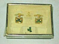 A Boxed Presentation Set of Chrome Plated  Irish Shamrock Mens Cufflinks & Pin