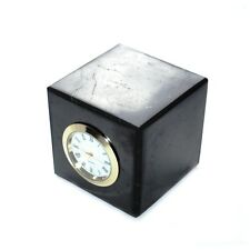 Shungite polished cube with clock (6 cm)