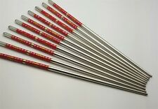 10 Pcs (5 Pairs) High Quality Fish Design Silver Stainless Steel Chopsticks