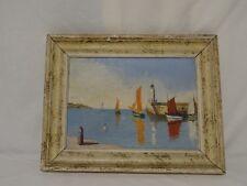 Ancienne Peinture Huile Marine Bord de Mer Charente