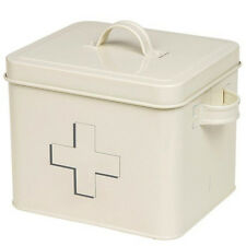ENAMEL FIRST AID BOX MEDICINE TIN LID CABINET MEDICAL KIT NEW STORAGE CONTAINER