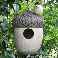 Novelty ACORN BIRD HOUSE NEST BOX decorated with bird, garden bird lover gift