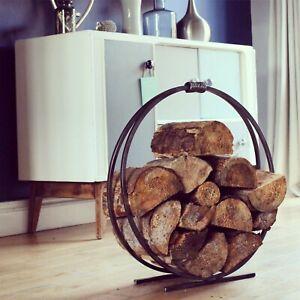 Wrought Iron Log Holder, log ring, log basket. wood burner. Metal log holder