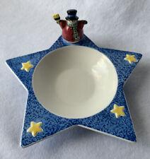 "Sandi Gore Evans Jolly Follies ""The S'mores The Merrier "" Star Dish Bowl Snowman"