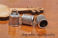 10S Charms Diy Bead End Cap Stopperhole Fit 8mm Cord Leather Craft Necklace 7260