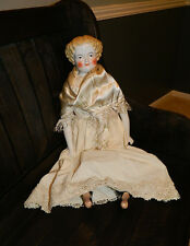 "Antique Large 22"" China Doll Blonde Hair Rosy Cheeks Unusual Face and Mold"