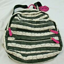 BETSEY JOHNSON Backpack *Black/White Stripe/Quilted Hearts