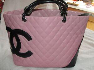 CHANEL Blk & Pink Cambon Leather Purse Handbag Tote