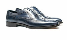 Bench Made to Measure Men's Blue Leather Oxford Brogue Wingtip Lace-Up Shoes