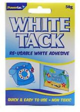 Blanco Azul Tac Reutilizables De Tachuela reposicionables Blanco Adhesivo Stong 50g Nuevo