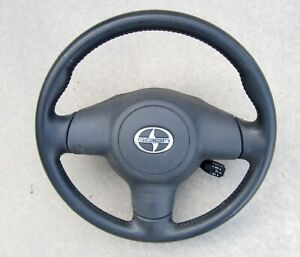 STEERING WHEEL, black leather with Cruise lever, used, 2005 Scion tC, '05-'10