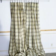 Custom Made Silk Curtains Triple Pinch Pleat Plaid Cream Tan 38 X 89 Lined