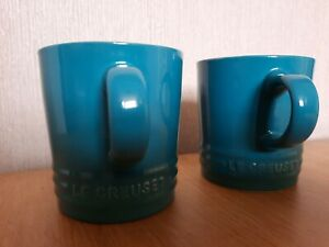Le Creuset Stoneware Espresso Mugs x 2, Teal, New Unboxed