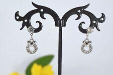 Ladies Girls Silver Tone Small Diamante Stud Earrings Crystal Ear Design Wear