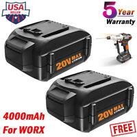 2x For WORX 4.0Ah 20Volt MAX Power Battery Li-ion Pack WA3525 WA3520 WG151s WG25