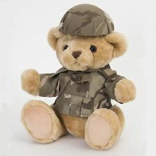 Teddy Bear Plush Jointed UK Army Military Replica Camo Uniform Helmet Dads Army