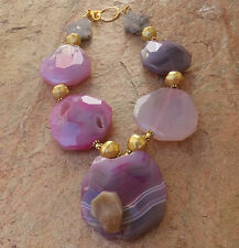 BIG PINK DRUZY PENDANT PURPLE CRYSTAL GEODE QUARTZ AGATE NECKLACE GOLD JEWELRY !
