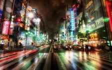 """TOKYO CITY NIGHT A4 POSTER GLOSS PRINT LAMINATED 11.7"""" x 7.3"""""""