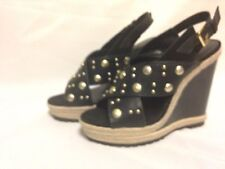 Rebecca Minkoff Kimiko Stud Wedge Heel Sandal 8 M Black/Gold New with Box