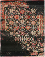 9X12 Hand-Knotted Oushak Carpet Traditional Black Fine Wool Area Rug D56878