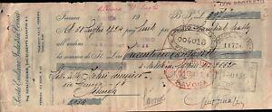 """1924 - CAMBIALE """" SOCIETA' EMILIANA INDUSTRIA CORNICI """" FERRARA PROTESTATO"""