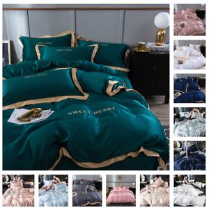 Soft Silk Satin Duvet Cover Set Flat Fitted Sheet Pillowcases Bedding Cooling