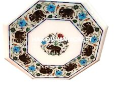 """12"""" Marble Coffee Table Top Jasper Elephant With Floral Inlay Precious Arts M162"""