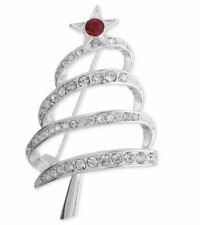 "Jones New York Holiday Brooch Silver Glass Stone Christmas Tree Pin ""Gift Box"""