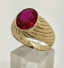 Men's Ring 10k Yellow Gold Red Stone Cubic Zirconia 7.8 Grams Size 10.5