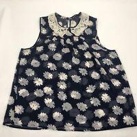 Ladies Floral Sleeveless Top sz 16 ? Vest Lace trim Collar Camisole Blouse