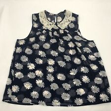 womens floral sleeveless vest top camisole lace trim collar pretty pearl sz 16