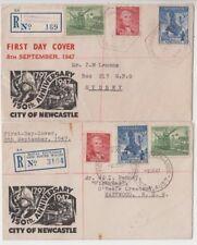 Stamps Australia 1947 Newcastle set 3 on pair Smythe cachet FDC's registered
