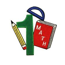 ID 0995 Number One School Math Class Book Embroidered Iron On Applique Patch