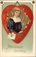 Valentine - Fancy Boy w/ Wishbone in Heart - Unsigned Clapsaddle? PC