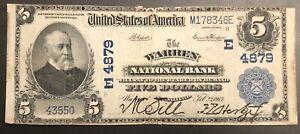 Warren, PA $5 1902 Plain Back E 4879 Napier Thompson National Bank Currency